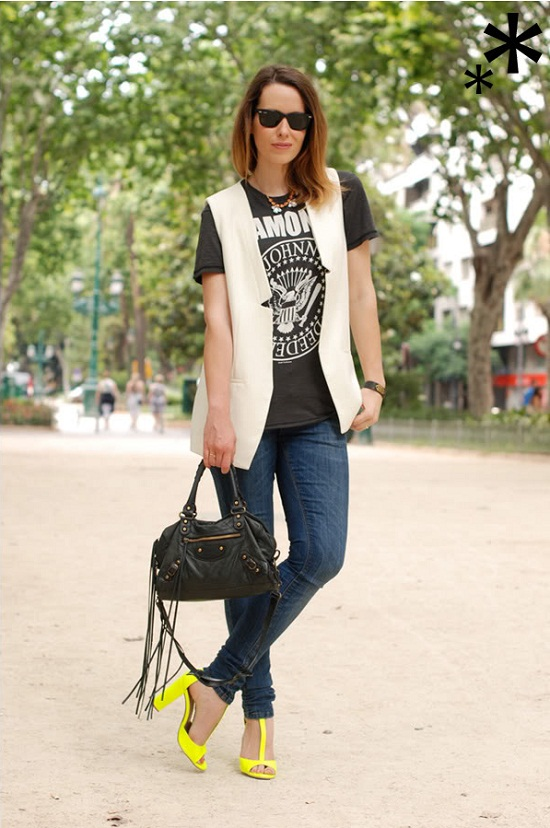 0-street_style-looks-neon-sandals-shoes-ramones_t_shirt-white_waistcoat-balenciaga_bag