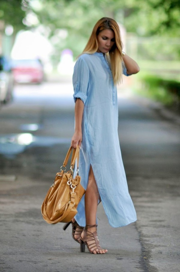 simona-mar-street-style-summer-spring-outfit-zara-blue-long-maxi-shirt-dress-river-island-brown-sandals-heels-tan-bag-prasiolite-crystal-necklace-guess-gold-chain-watch-4